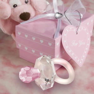 Crystal Pink Pacifier Favors