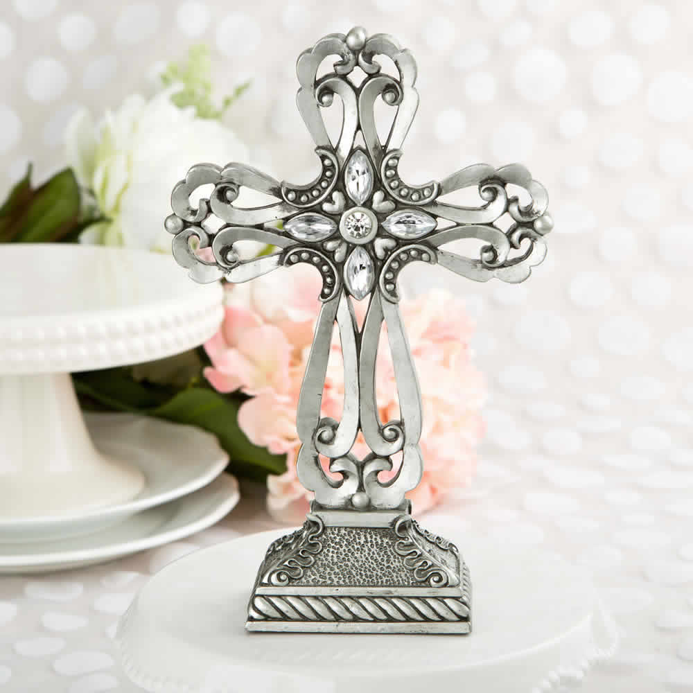 Baptism table centerpieces large pewter cross statue
