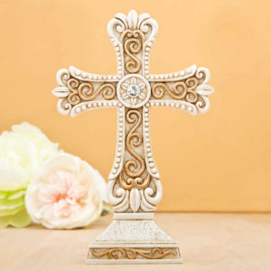 Antique Design Cross Statue In Ivory And Matte Gold