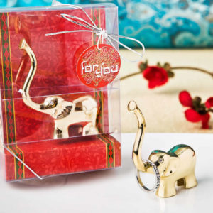 Gold Good Luck Elephant Ring And Jewelry Holder
