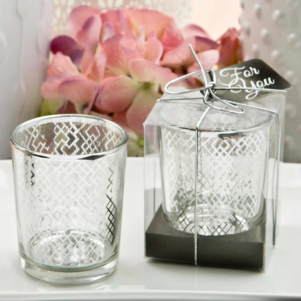 Silver Wedding Favours Candle With Geometric Design - FREE Custom Tags
