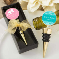 Personalised wine stopper, gold wine stopper favors