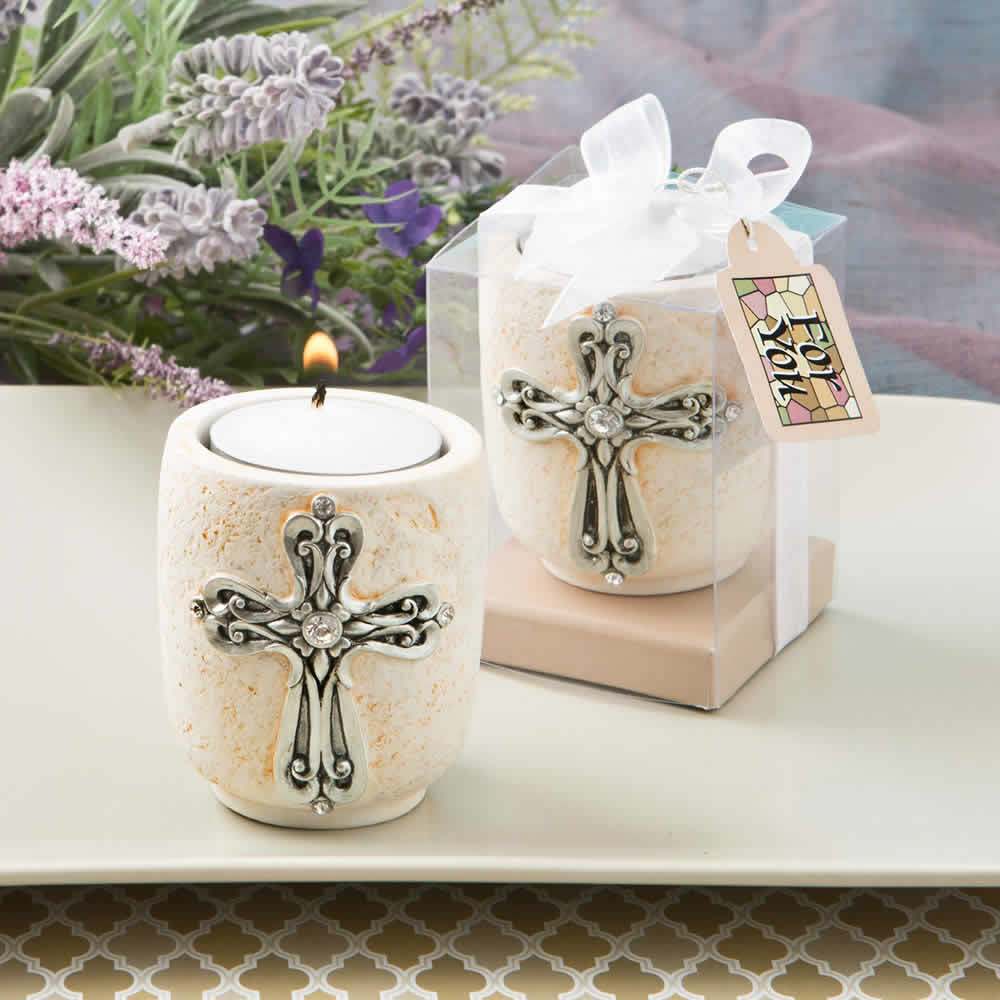 Unique Baptism Favors, Cross Design Candle Holder - FREE Custom Tags