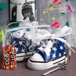 Blue Star Print Baby Sneaker Key Chain