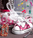 Pink Star Print Baby Sneaker Key Chain