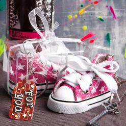 Pink Star Print Baby Sneaker Key Chain