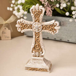 Antique Ivory Cross Statue With Matte Gold Detailing