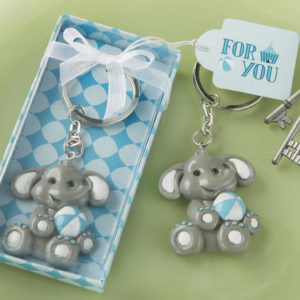 Baby Elephant With Blue Design Key Chain