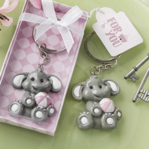Baby Elephant With Pink Design Key Chain