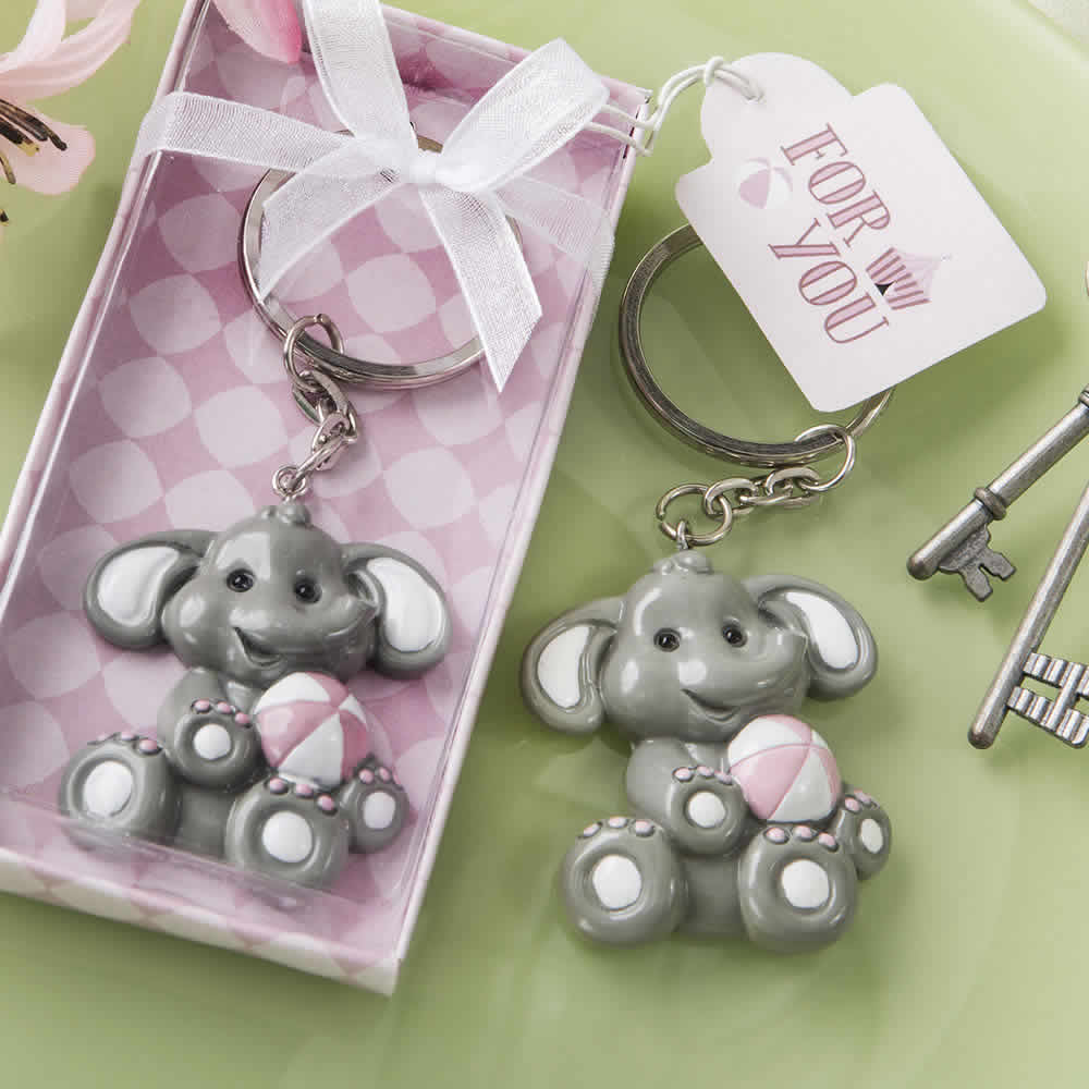 Baby Elephant With Pink Design Key Chain Ships Next Day