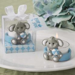 Baby Elephant With Blue Design Tea Light Holder