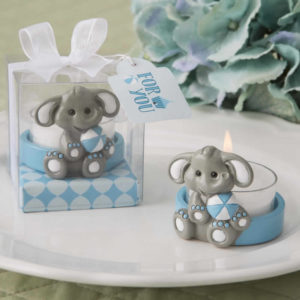 Baby Elephant With Blue Design Tea Light Holder