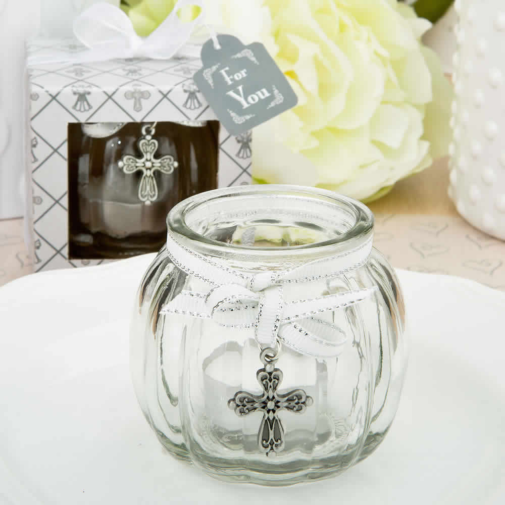 Cross Glass Globe Candle Holder - FREE Custom Tags