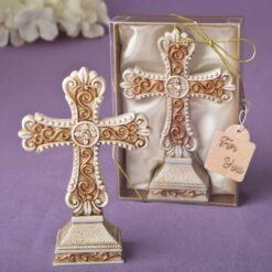 Antique Ivory Cross Statue Matte Gold Filigree Details