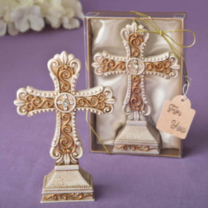 Antique Ivory Cross Statue Matte Gold Filigree Details