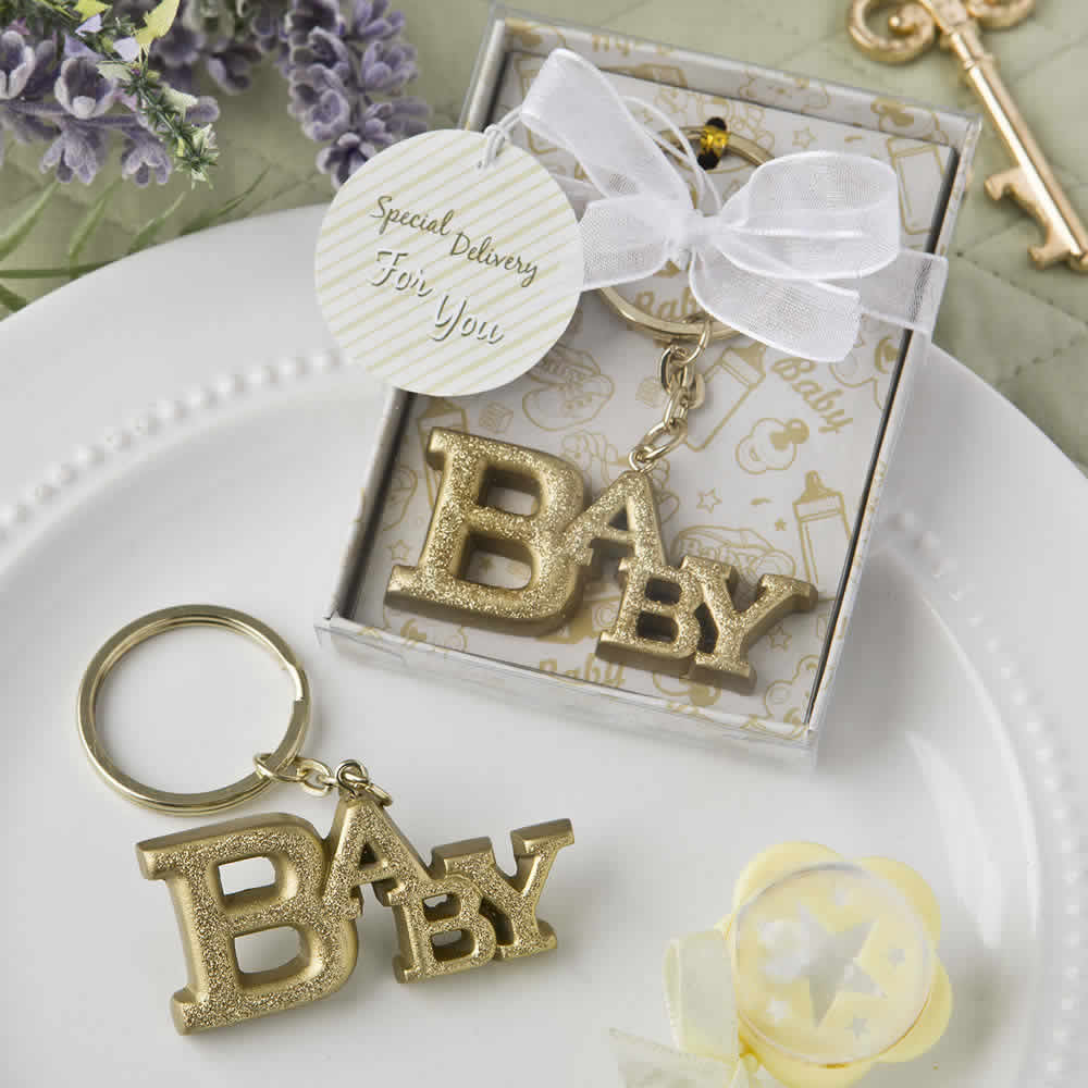 Cheap Baby Shower Favor Ideas Gold Baby Key Chain – FREE Custom Tags