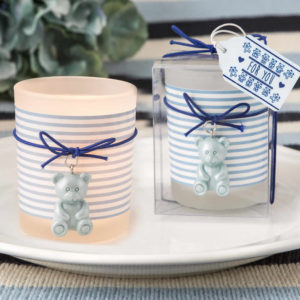 Blue Teddy Bear Themed Frosted Glass Votive