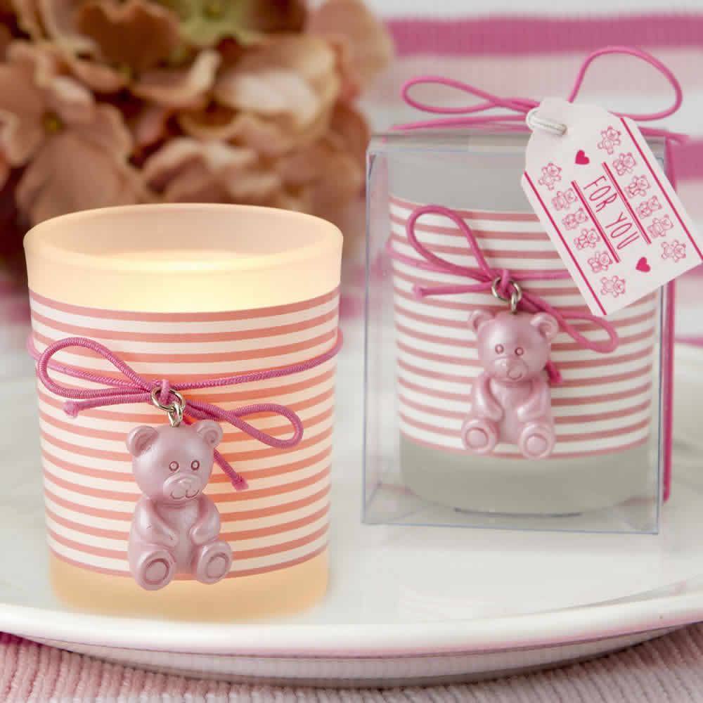 Pink Teddy Bear Themed Frosted Glass Votive – FREE Custom Tags