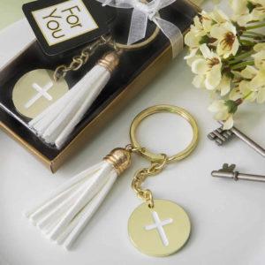 Gold Metal Cross Themed White Tassel Key Chain