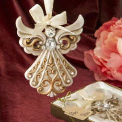 Antique Ivory Angel Ornament With A Matte Gold