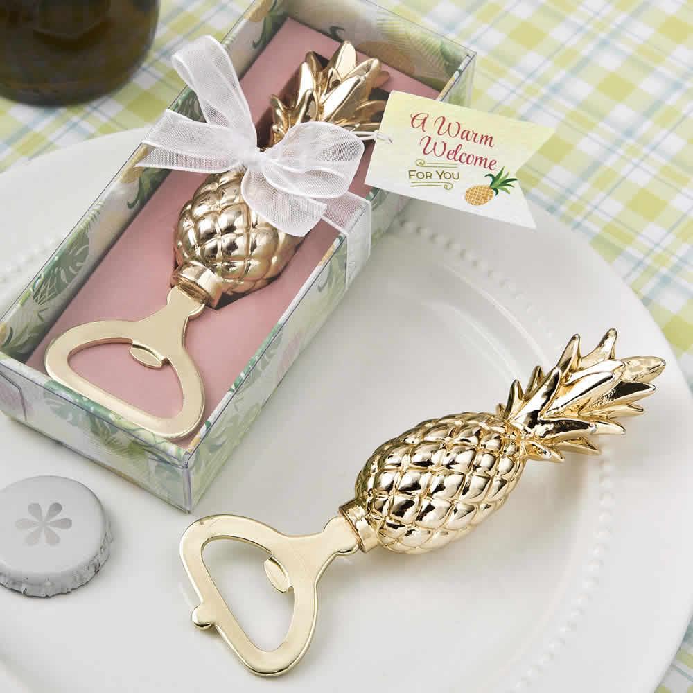 Gold Pineapple Bottle Opener - FREE Rush, FREE Custom Tags