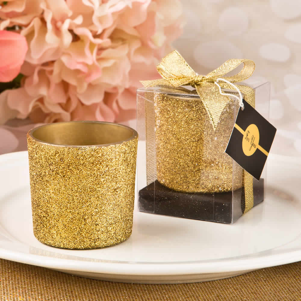 Gold Glitter Candle Favors Free Custom Tags