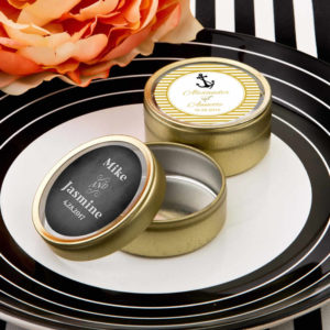 gold Mint Tins wedding favors