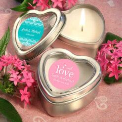 heart shaped candles wedding favor