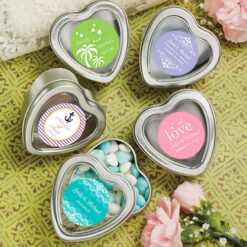 Personalized Silver Heart Shaped Mint Tins