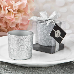 Silver Wedding Favors Ideas Silver Glitter Candle Votive