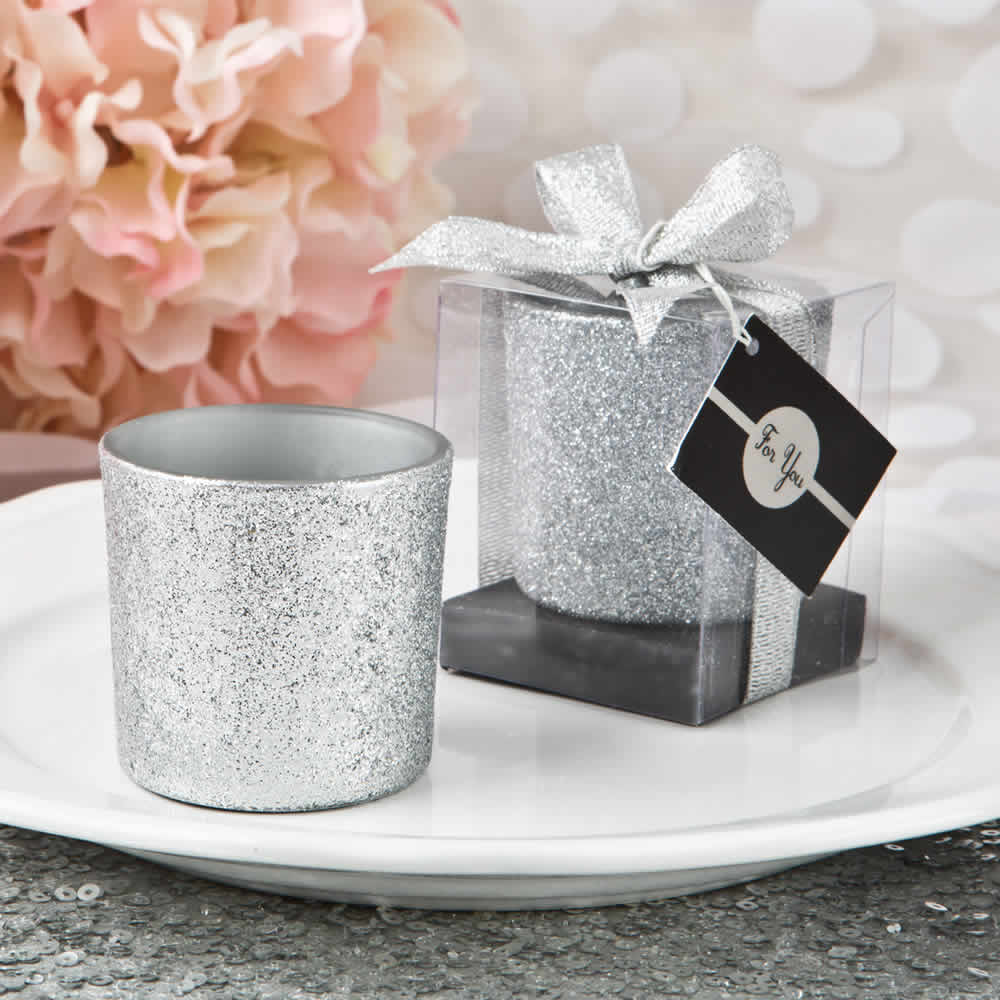 Silver Glitter Candle Favors – FREE Custom Tags