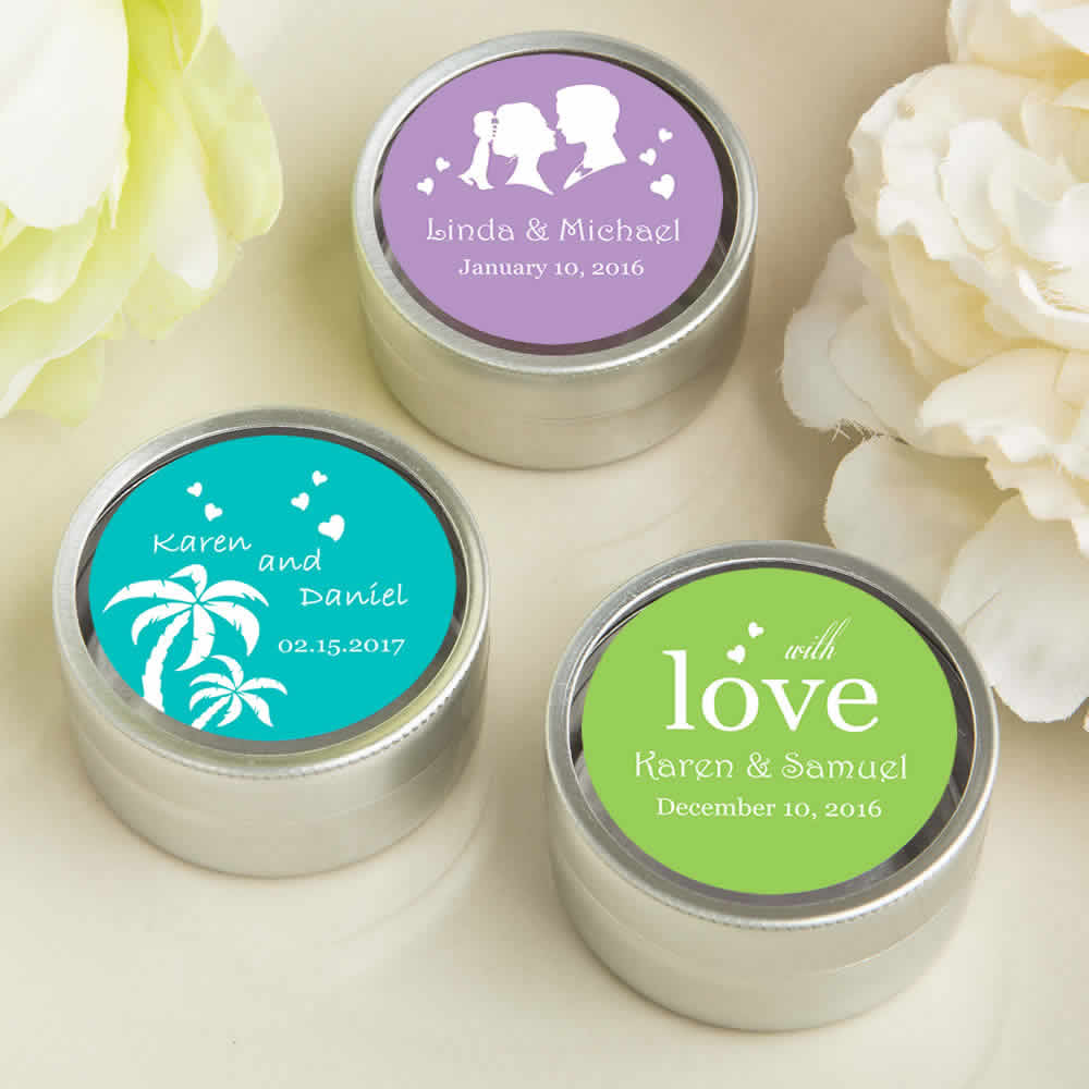 personalized wedding mint tins silver color free rush