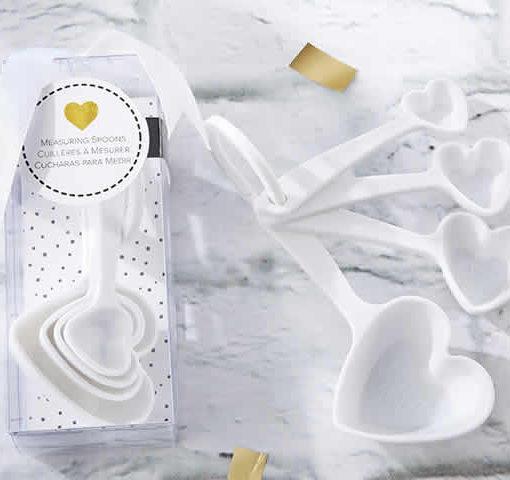 White Heart Plastic Measuring Spoons