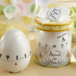 about to hatch egg timer baby shower favors