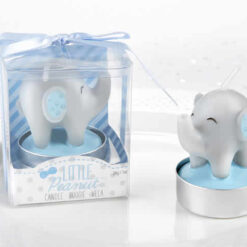 blue elephant baby shower Candle favors