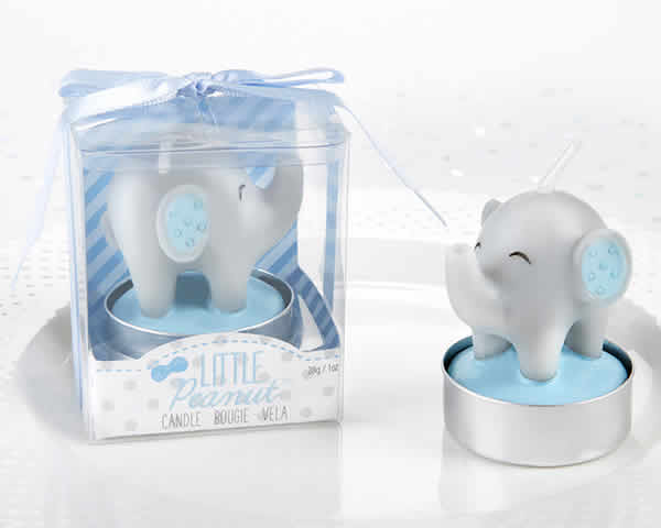 Blue Elephant Baby Shower Candle Favors Free Rush With Custom Tags