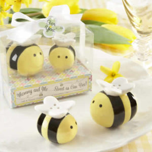 bee salt and pepper shakers baby shower favors