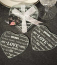 Heart Design Glass Coaster (Set Of 2)
