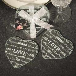 Heart Design Glass Coaster (Set Of 2)