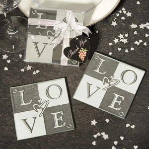 love glass coasters wedding favors