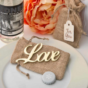 love bottle opener gold wedding favor