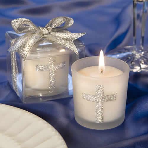 Personalised Christening Baptism Votive Candle Favours Boy Or Girl Set of 10