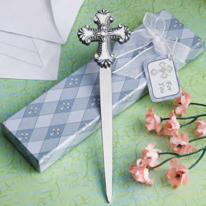 cross design letter opener favors