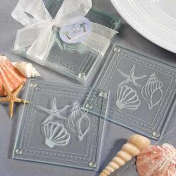 Beach Themed Glass Coaster Favors
