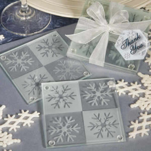 snowflake coasters wedding favors