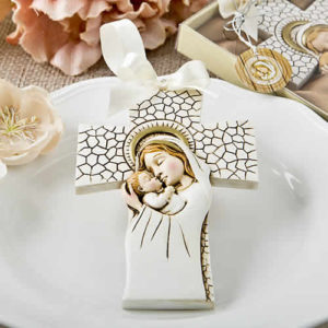 Madonna And Child Hanging Cross Ornament