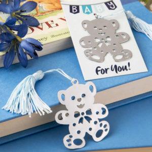 Blue Teddy Bear Design Bookmark Favors