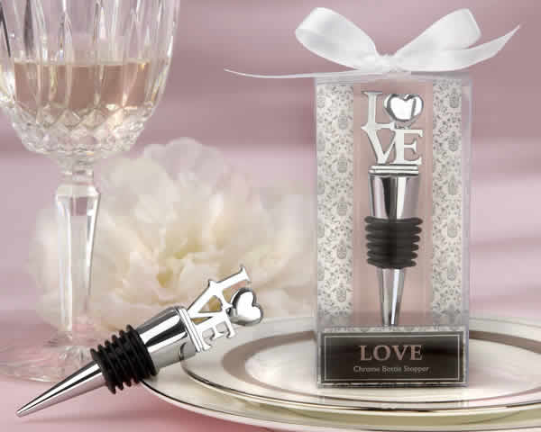 50 Love Theme Chrome Bottle Stopper Wedding Favors in Elegant Gift Box