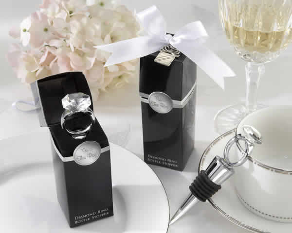 Diamond Ring Wine Stopper Wedding Favors