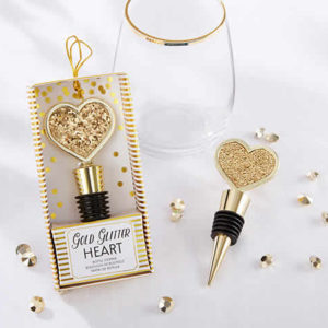 Gold Glitter Heart Bottle Stopper